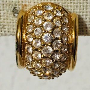 Vintage Swarovski crystal &gold tone clip earrings